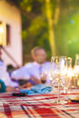 Blurred silhuette of a mid aged man sitting outdoors Stock Photography