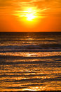 Blurred sunrise at sea image of or sunset with the sun by aerial wakes Stock Photography
