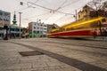 Blurred tram in the center of Bratislava, Slovakia Royalty Free Stock Photo