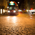 Blurred tram in Freiburg at night Royalty Free Stock Photo