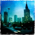 Blurred view of Warsaw at night Royalty Free Stock Images