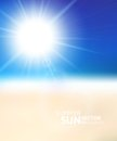 Blurry beach and blue sky with summer sun burst vector background illustration Stock Images