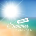 Blurry beach and blue sky with summer sun burst vector background illustration Royalty Free Stock Image