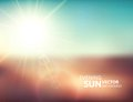 Blurry evening scene with brown field sun burst blue and green blur sky vector illustration Stock Image
