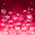Blurry hearts purple background with shiny and stars illustration Royalty Free Stock Images