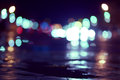 Blurry lights on the street.