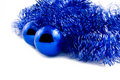 Blus balls and tinsel Royalty Free Stock Photography