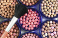 Blush balls brush close up Stock Photography