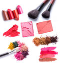 Blush on brush set of scratch lipstick powder and make up cosmetics collection Royalty Free Stock Photos