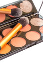 Blusher palette with brush and mirror stock image Royalty Free Stock Photography
