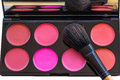 Blusher palette with brush women make up stock photo Stock Images