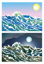 Blusterous sea waves in the day and night time illustration Royalty Free Stock Image