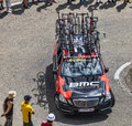 Bmc team technical car in pyrenees mountains col de pailheres france july of procycling climbing the road to col de pailheres Royalty Free Stock Photography