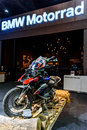 BMW GS Motorcycle in Booth BMW Motorrad. Royalty Free Stock Photo