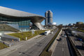 Bmw world museum and the four cylinder tower in munich Stock Image