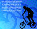Bmx bicyclist on the abstract background stunt Stock Images