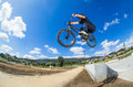 Bmx big air jump rider on a in a skate park Royalty Free Stock Photography