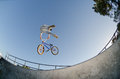 BMX Bike Stunt tail whip Stock Photo