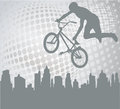 Bmx cyclist on the abstract background silhouette halftone Stock Photo