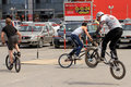 Bmx cyclists preparing for competitions volgograd russia may unknown are warming up before the fight annual streetball party Royalty Free Stock Photography