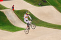 Bmx olympics carlos mario oquendo zabala of columbia in the heats of the london olympic games Royalty Free Stock Photography