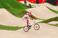 Bmx olympics edzus treimanis of latvia in the heats of the london olympic games Royalty Free Stock Photography