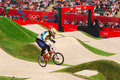 Bmx olympics emilio andres falla buchely of ecuador in the heats of the london olympic games Royalty Free Stock Photos