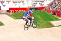 Bmx olympics joris daudet of france in the heats of the london olympic games Royalty Free Stock Images