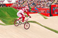 Bmx olympics maris strombergs of latvia gold medal winner in the heats of the london olympic games Stock Photo