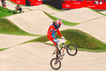 Bmx olympics raymon van der biezen of the netherlands in the heats of the london olympic games Stock Photo