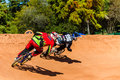 BMX Racing Riders Last Corner Royalty Free Stock Photography
