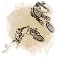Bmx Rider Jumping On A Artistic Abstract Background.