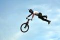 BMX rider making a bike jump Royalty Free Stock Photo