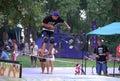 BMX rider in urban park Royalty Free Stock Photo