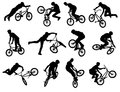 Bmx stunt silhouettes Royalty Free Stock Photo