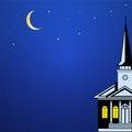 Boże narodzenia kształtują teren z kościelną iglicą księżyc i gwiazdami Zdjęcia Royalty Free