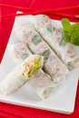 Bo bia vietnamese fresh summer rolls with chinese sausage jicama carrots lettuce egg and dried shrimp Stock Photo