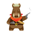 Boar with a gun illustration of on white background Stock Photo