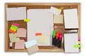 The board with colored notes and photos Royalty Free Stock Photo