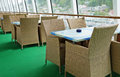 On board dining tables and chairs deck cruise ship Royalty Free Stock Images