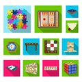 Board game flat icons in set collection for design. Game and entertainment vector symbol stock web illustration. Royalty Free Stock Photo