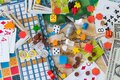 Gaming and gambling Board games, coins, bills, dice and cards Royalty Free Stock Photo