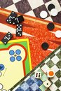 Board games top view of dominoes and dices Royalty Free Stock Images