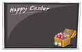 A board with a happy easter greeting illustration of on white background Royalty Free Stock Photos