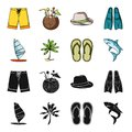 Board with a sail, a palm tree on the shore, slippers, a white shark. Surfing set collection icons in black,cartoon Royalty Free Stock Photo