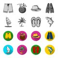 Board with a sail, a palm tree on the shore, slippers, a white shark. Surfing set collection icons in monochrome,flat
