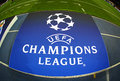 Board with UEFA Champions League Logo on the ground Royalty Free Stock Photo
