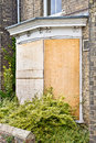 Boarded up a blue front door Royalty Free Stock Images