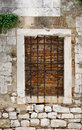 Boarded window bricked up in zadar croatia Royalty Free Stock Image