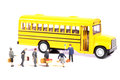 Boarding the bus beautiful shot of male and female figurines Royalty Free Stock Photos